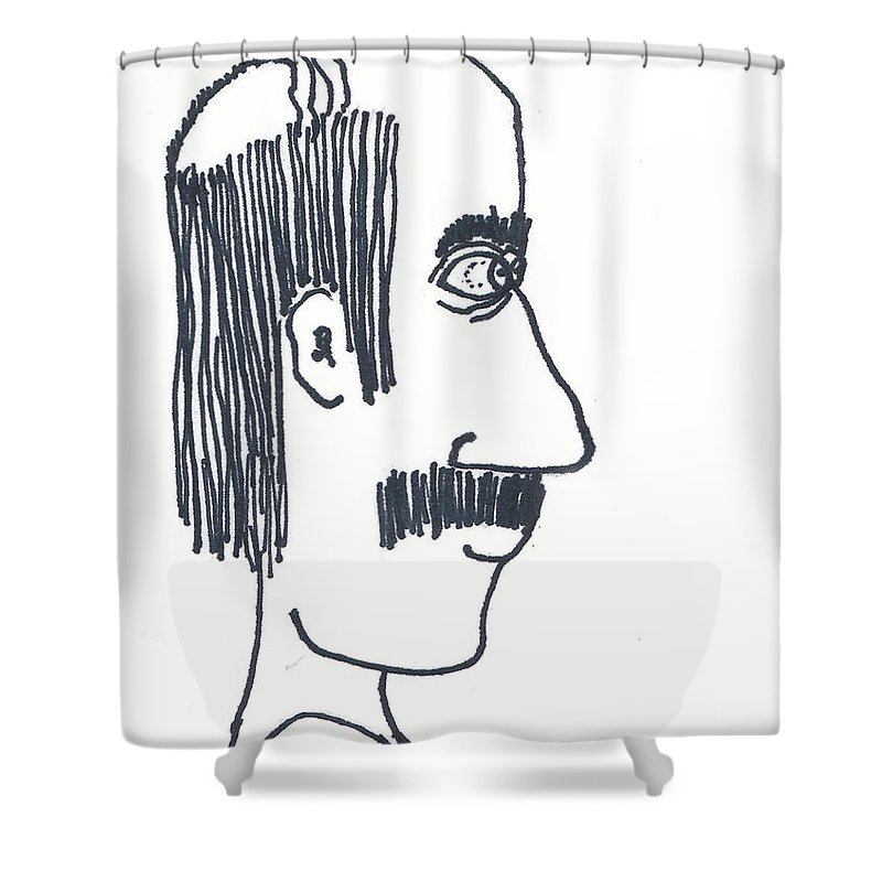 Uncle Lefty Shower Curtain featuring the drawing Uncle Lefty by Michael Mooney