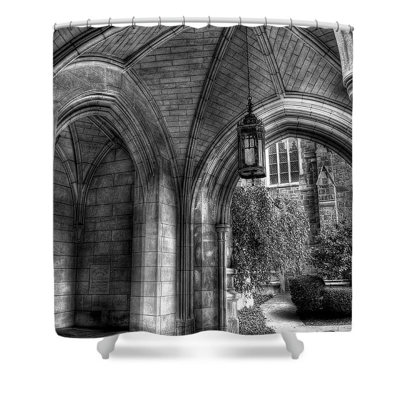 Hdr Shower Curtain featuring the photograph Under The Bell Tower by Brian Fisher