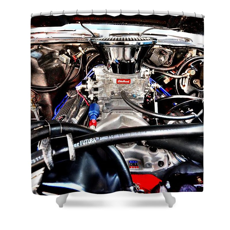 Classic Cars Shower Curtain featuring the photograph Under The Hood by David Morefield