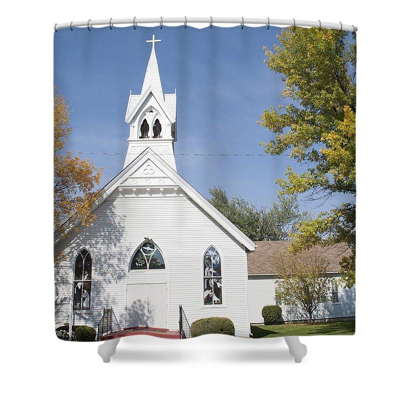 United Methodist Church - Townsend Shower Curtain featuring the photograph United Methodist Church Townsend Mt by Fran Riley
