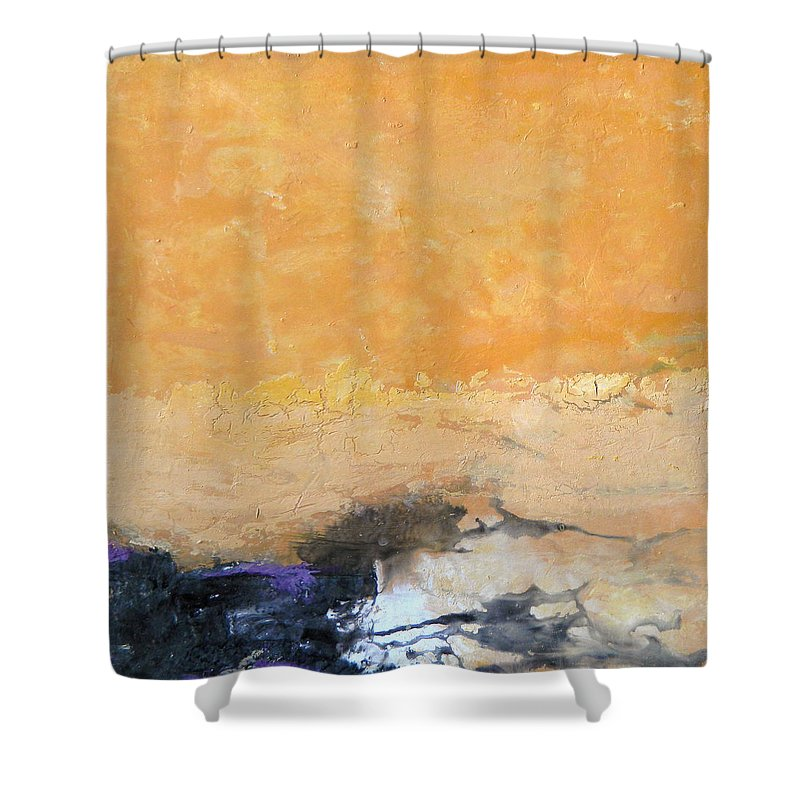 Abstract Shower Curtain featuring the painting Untitled Abstract - Amber Peach With Violet by Kathleen Grace
