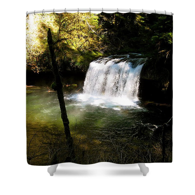 Butte Shower Curtain featuring the photograph Upper Butte Creek Falls 2 by Linda Hutchins