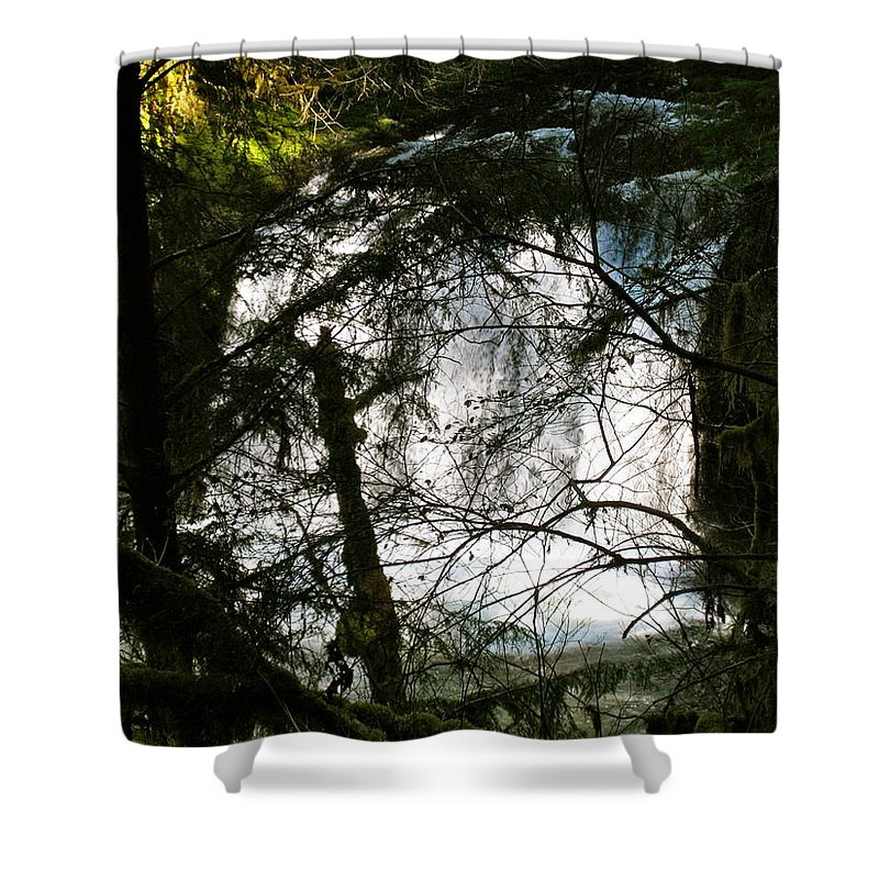 Butte Shower Curtain featuring the photograph Upper Butte Creek Falls Through The Trees by Linda Hutchins