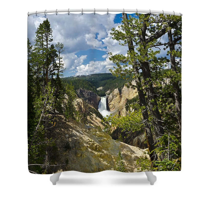 Yellowstone National Park Shower Curtain featuring the photograph Upper Falls II by Jon Berghoff