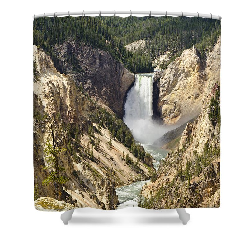 Yellowstone National Park Shower Curtain featuring the photograph Upper Falls Yellowstone by Jon Berghoff