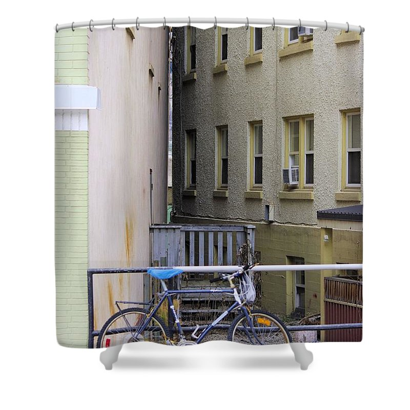 Bike Shower Curtain featuring the photograph Urban Convergence by John Greaves