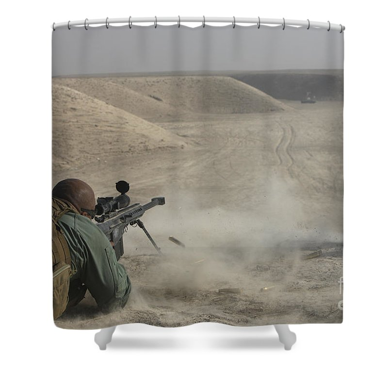 Isaf Shower Curtain featuring the photograph U.s. Army Soldier Fires A Barrett M82a1 by Terry Moore