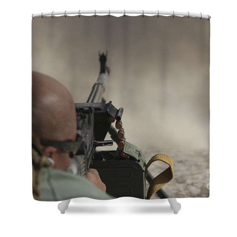Kunduz Shower Curtain featuring the photograph U.s. Contractor Firing The Pkm 7.62 by Terry Moore