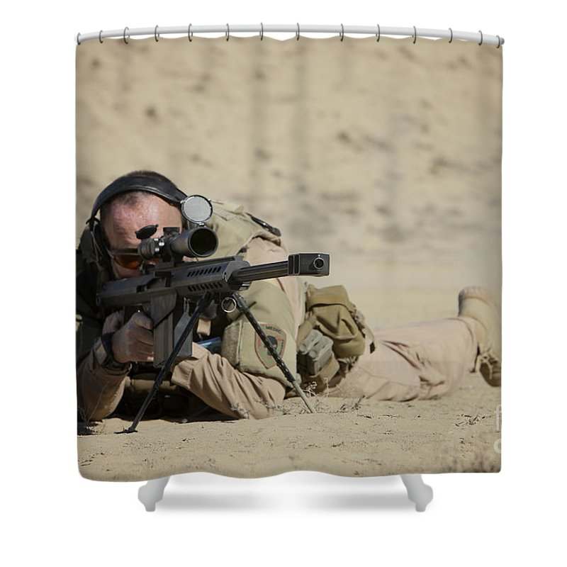 Isaf Shower Curtain featuring the photograph U.s. Contractor Sights In A Barrett by Terry Moore