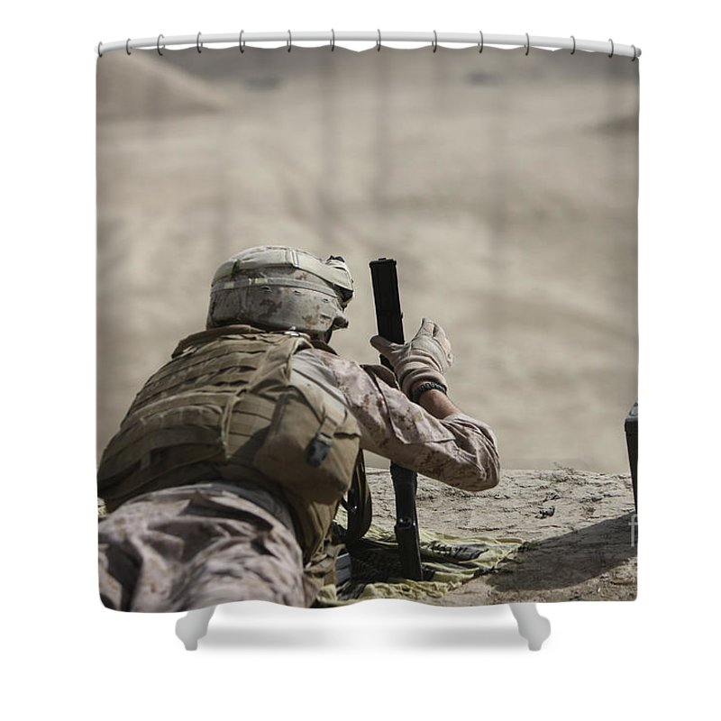Cartridge Shower Curtain featuring the photograph U.s. Marine Clears A Pk General-purpose by Terry Moore