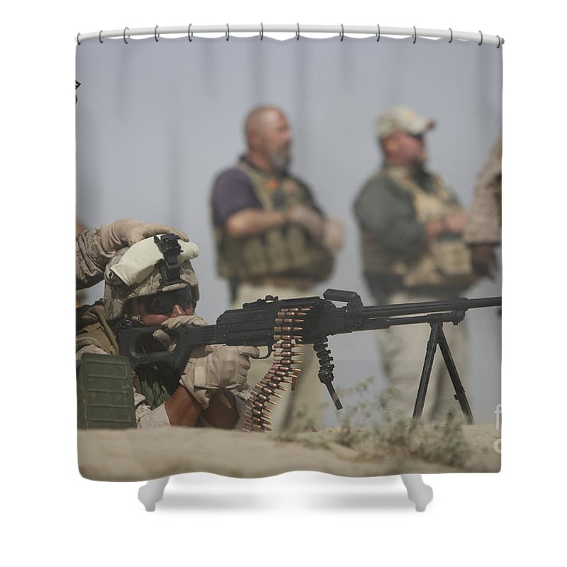 Bullet Shower Curtain featuring the photograph U.s. Marine Firing A Pk 7.62mm Machine by Terry Moore