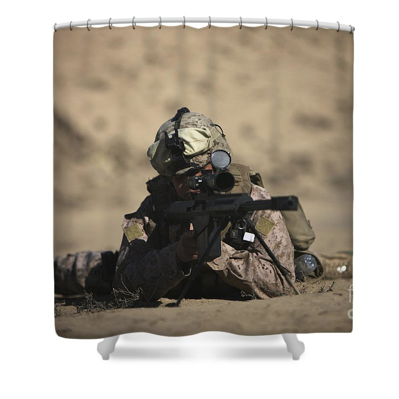Sniper Shower Curtain featuring the photograph U.s. Marine Sights In A Barrett M82a1 by Terry Moore