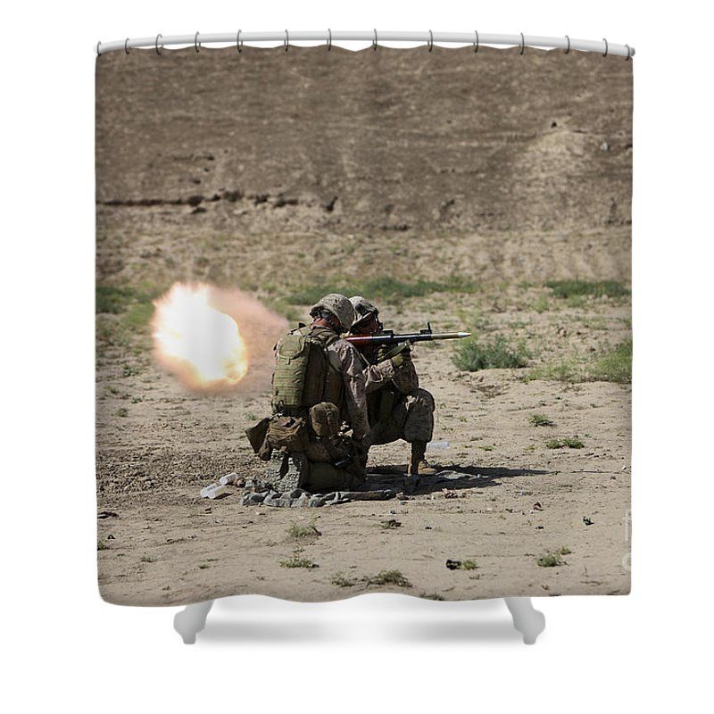 Kunduz Shower Curtain featuring the photograph U.s. Marines Fire A Rocket-propelled by Terry Moore