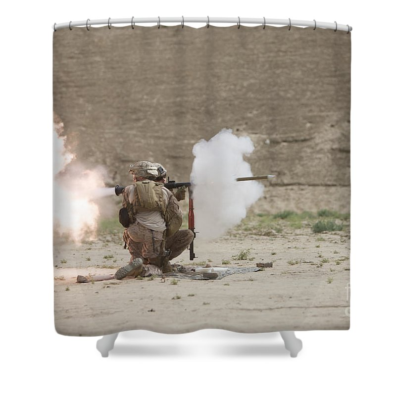 Desert Shower Curtain featuring the photograph U.s. Marines Fire A Rpg-7 Grenade by Terry Moore
