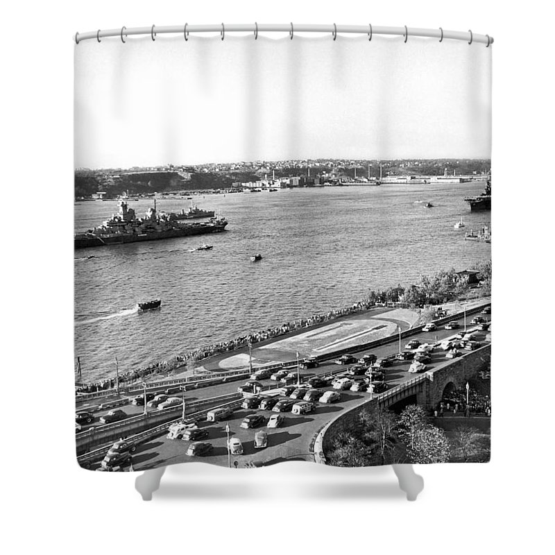 1940's Shower Curtain featuring the photograph U.s. Navy In The Hudson River by Underwood Archives