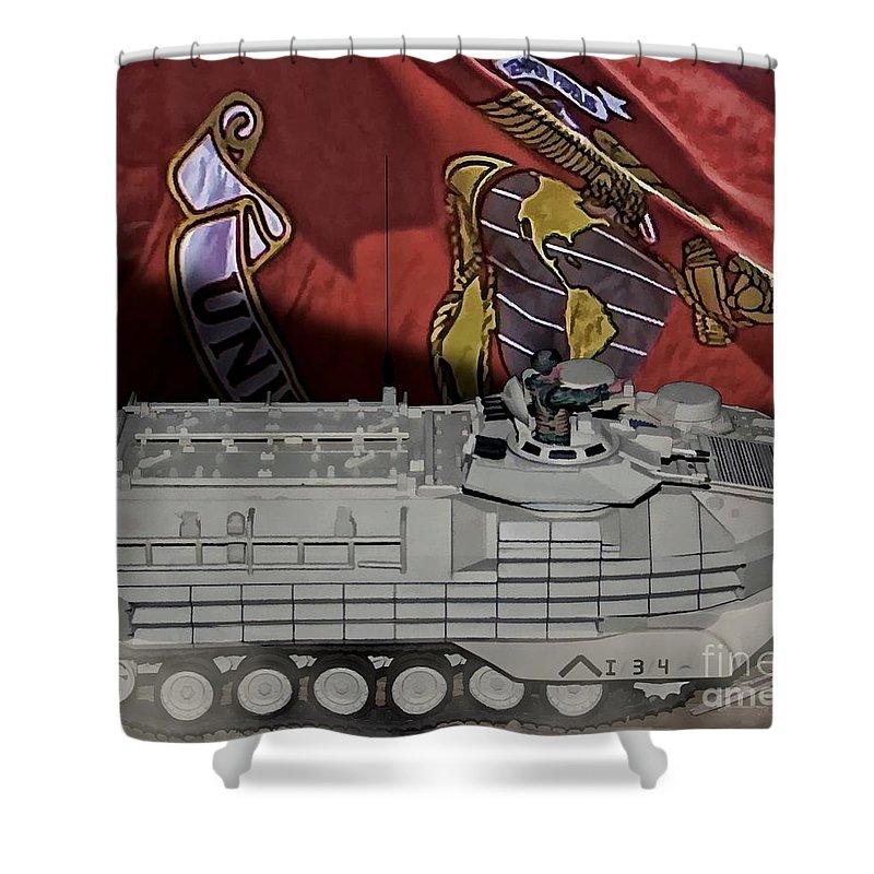 Usmc Amphibious Assault Vehicle Aav7 Shower Curtain featuring the digital art Usmc Aav7 by Tommy Anderson