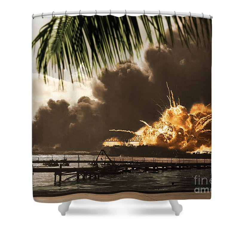 History Shower Curtain featuring the photograph U S S Shaw Pearl Harbor December 7 1941 by Photo Researchers