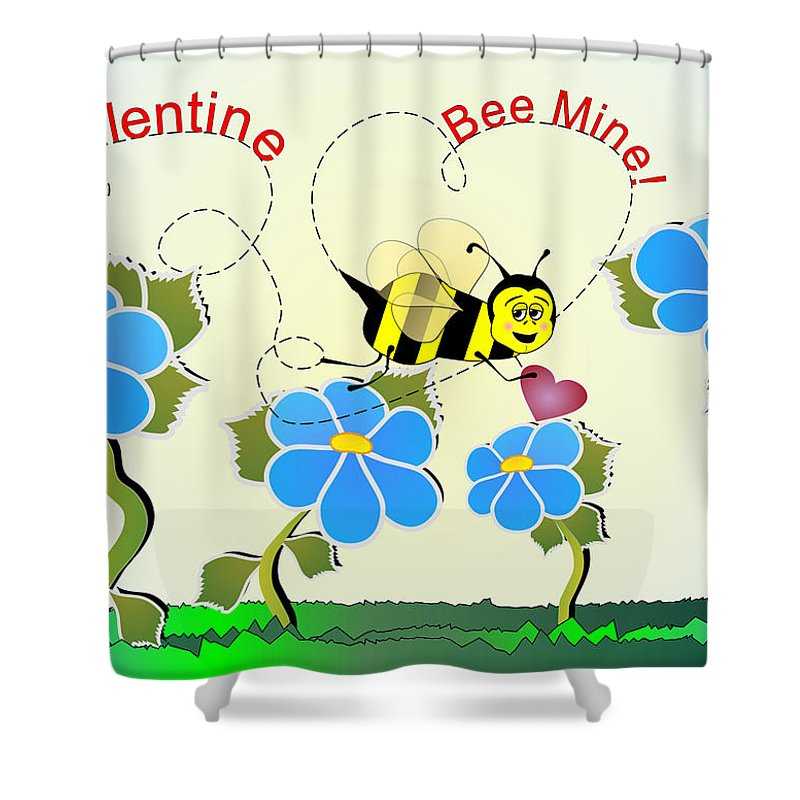 Valentines Shower Curtain featuring the digital art Valentine Bee Mine by Susan Kinney