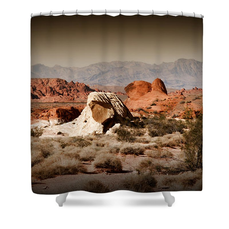 Valley Of Fire Shower Curtain featuring the photograph Valley Of Fire by Chris Brannen