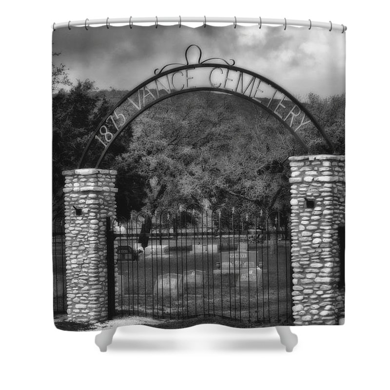 Vance Shower Curtain featuring the photograph Vance Cemetery Black And White by Donna Greene