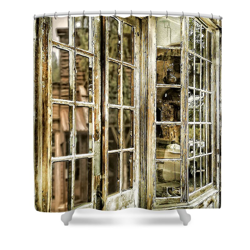 Ghost Town Shower Curtain featuring the photograph VC Window Reflection by Susan Kinney
