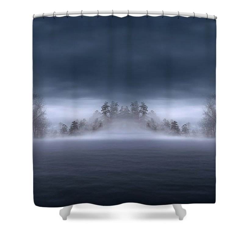 One Cold Dark Misty Evening Shower Curtain featuring the photograph Veil Of Mist by Lourry Legarde