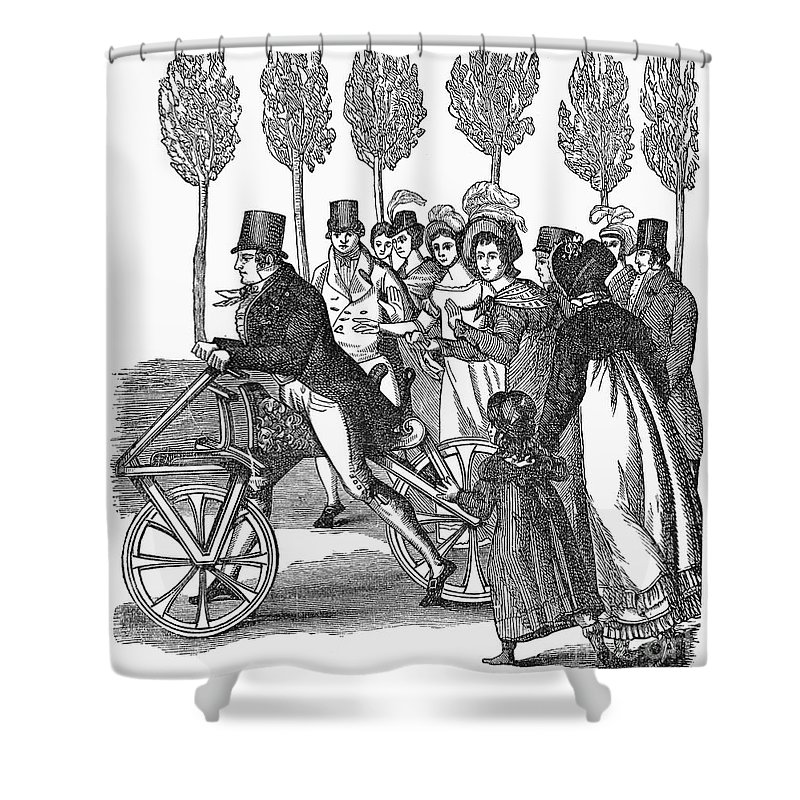1827 Shower Curtain featuring the photograph Velocipede, 1827 by Granger