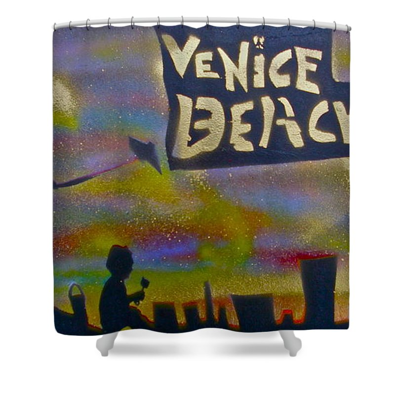 Mermaid Shower Curtain featuring the painting Venice Beach Life by Tony B Conscious