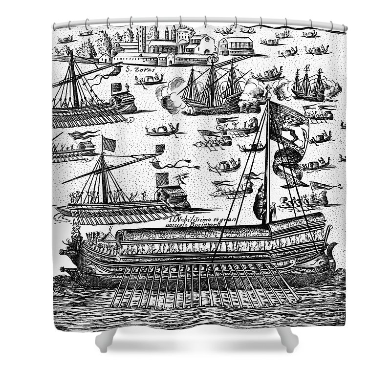 1610 Shower Curtain featuring the photograph Venice: Bucentaur by Granger