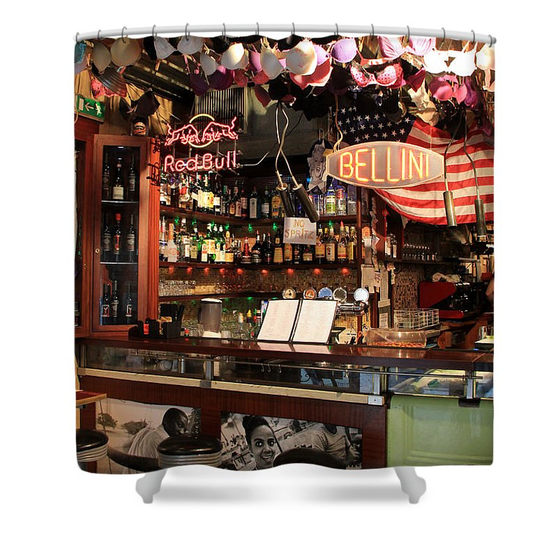 Bacaro Jazz Bar Shower Curtain featuring the photograph Venice Jazz Bar by Andrew Fare