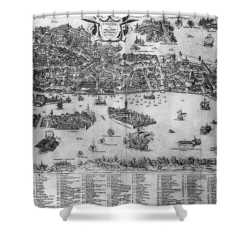 1566 Shower Curtain featuring the photograph Venice: Map, C1566 by Granger
