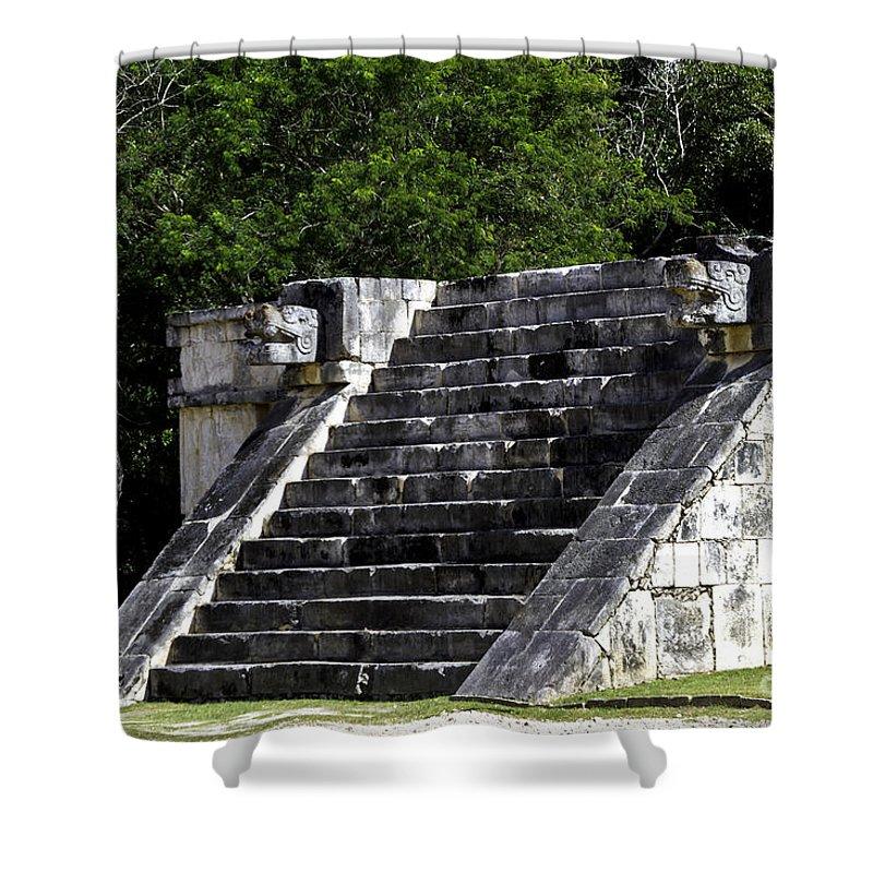 Chichen Itza Shower Curtain featuring the photograph Venus Platform Two by Ken Frischkorn