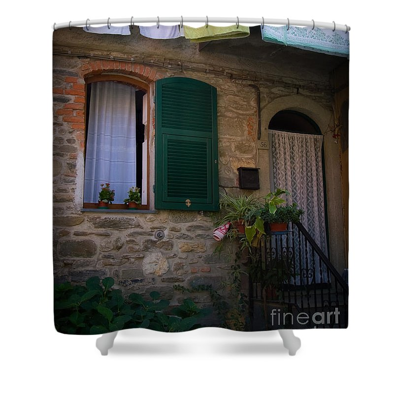 Vernazza Shower Curtain featuring the photograph Vernazza Linens by Doug Sturgess