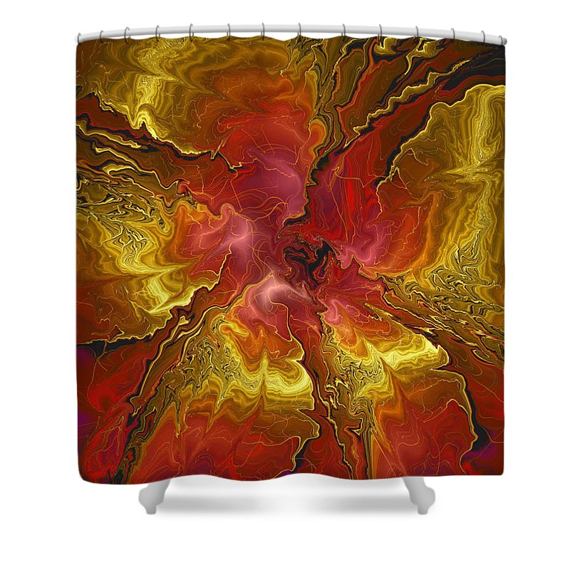 Digital Flower Shower Curtain Featuring The Art Vibrant Red And Gold By Deborah Benoit