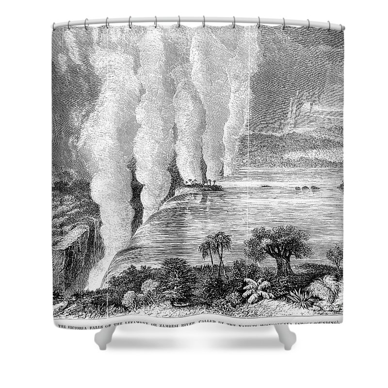 1860 Shower Curtain featuring the photograph Victoria Falls, C1860 by Granger
