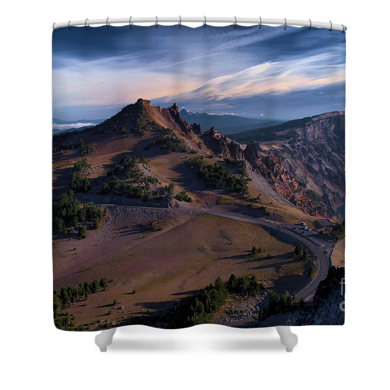 Crater Lake National Park Shower Curtain featuring the photograph View From The Watchman by Adam Jewell
