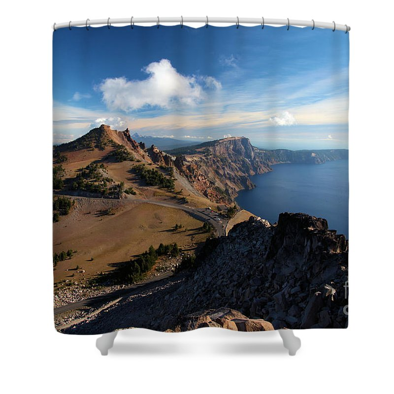 Crater Lake National Park Shower Curtain featuring the photograph View From Watchman by Adam Jewell