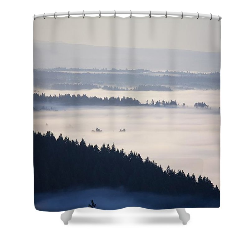 Dawn Shower Curtain featuring the photograph View Of Fog-covered Willamette Valley by Craig Tuttle