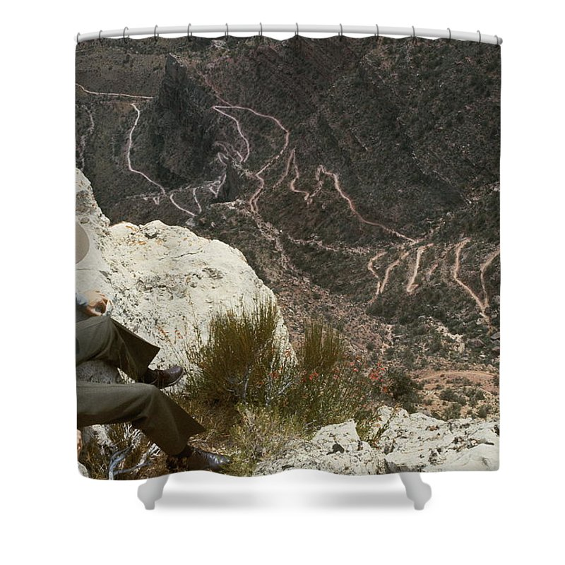 grand Canyon National Park Shower Curtain featuring the photograph View Of Hiking Trails From High Above by Walter Meayers Edwards