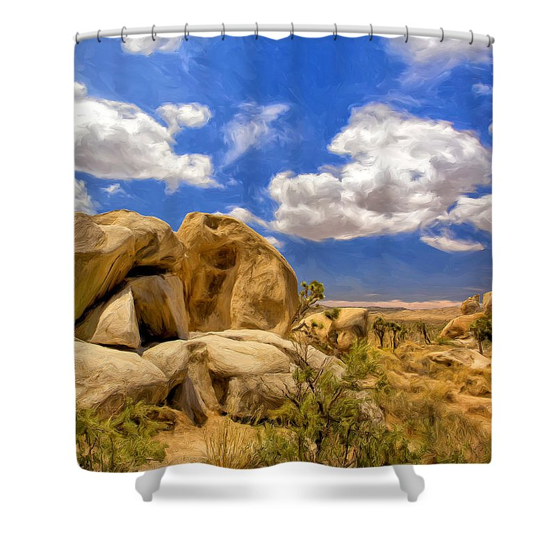View Of Joshua Tree Shower Curtain featuring the painting View Of Joshua Tree by Dominic Piperata