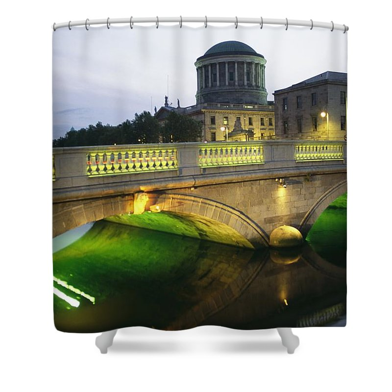 Structures Shower Curtain featuring the photograph View Of The Four Courts And The Liffey by Richard Nowitz