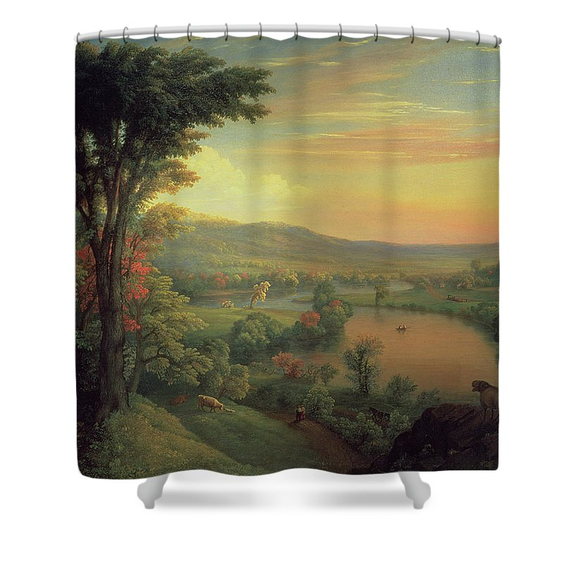 View Of The Mohawk Near Little Falls Shower Curtain featuring the painting View Of The Mohawk Near Little Falls by Mannevillette Elihu Dearing Brown