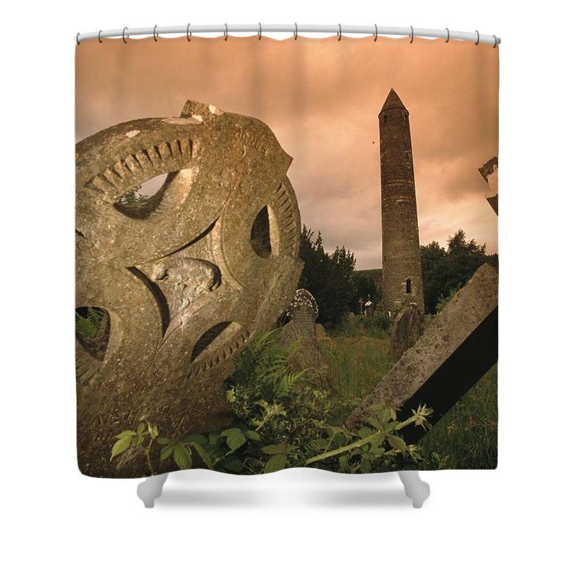 Europe Shower Curtain featuring the photograph View Of The Round Tower And Gravestones by Richard Nowitz