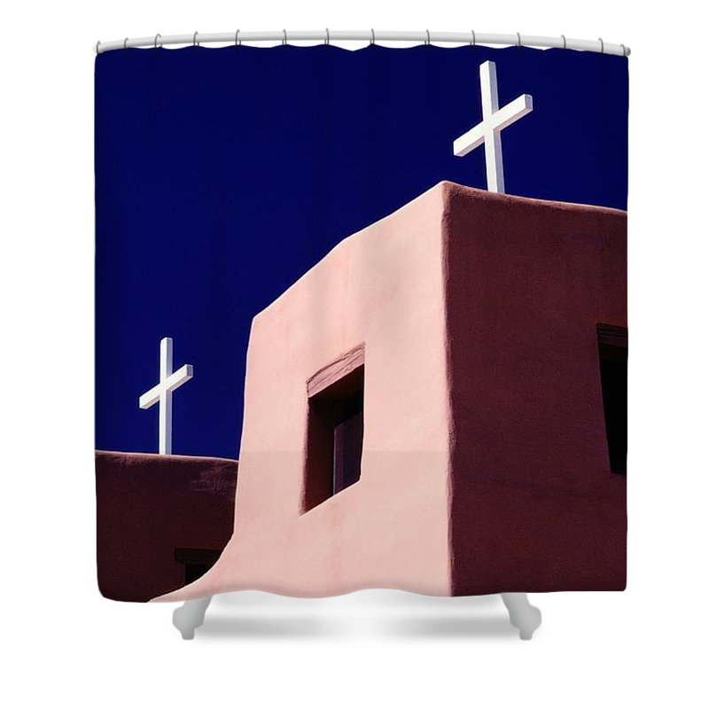 North America Shower Curtain featuring the photograph View Of The Shadowed Walls Of An Adobe by Todd Gipstein