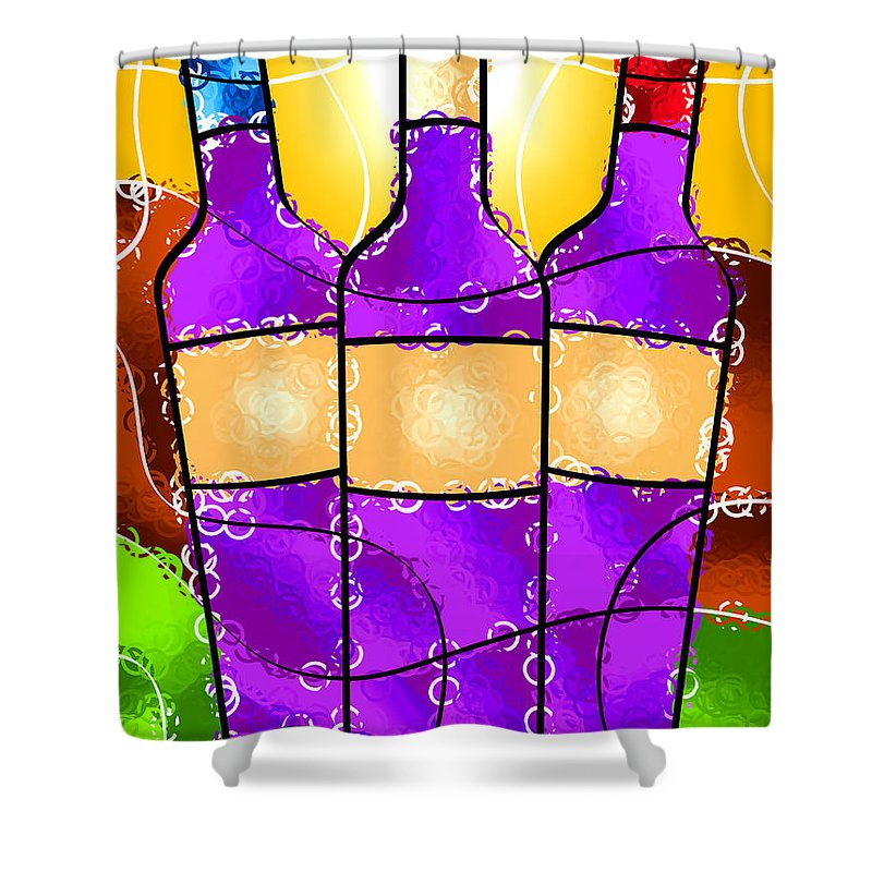 Vino Shower Curtain featuring the digital art Vino by Stephen Younts