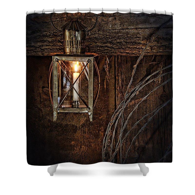 Lantern Shower Curtain featuring the photograph Vintage Lantern Hung In A Barn by Jill Battaglia
