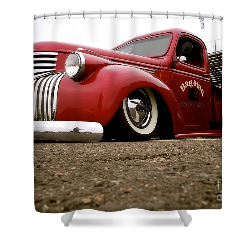 Vintage Shower Curtain featuring the photograph Vintage Style Hot Rod Truck by Customikes Fun Photography and Film Aka K Mikael Wallin