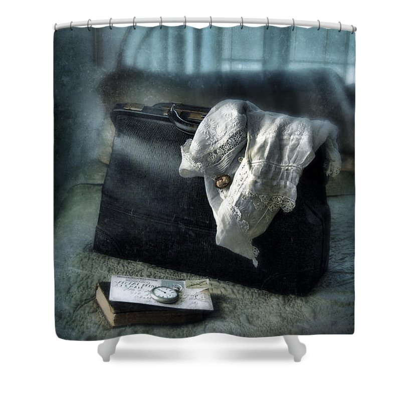 Suitcase Shower Curtain featuring the photograph Vintage Suitcase On Brass Bed by Jill Battaglia