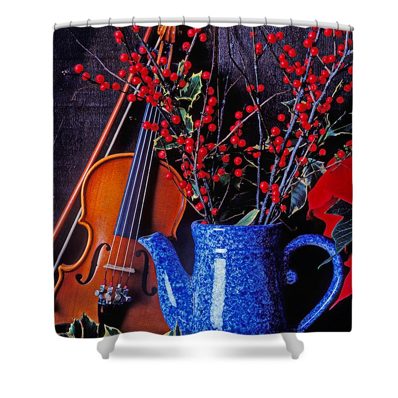 Violin Shower Curtain featuring the photograph Violin With Blue Pot by Garry Gay