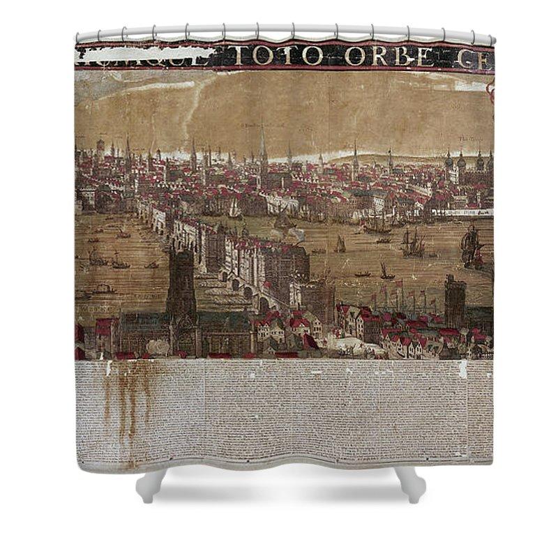 1650 Shower Curtain featuring the photograph Visscher: London, 1650 by Granger